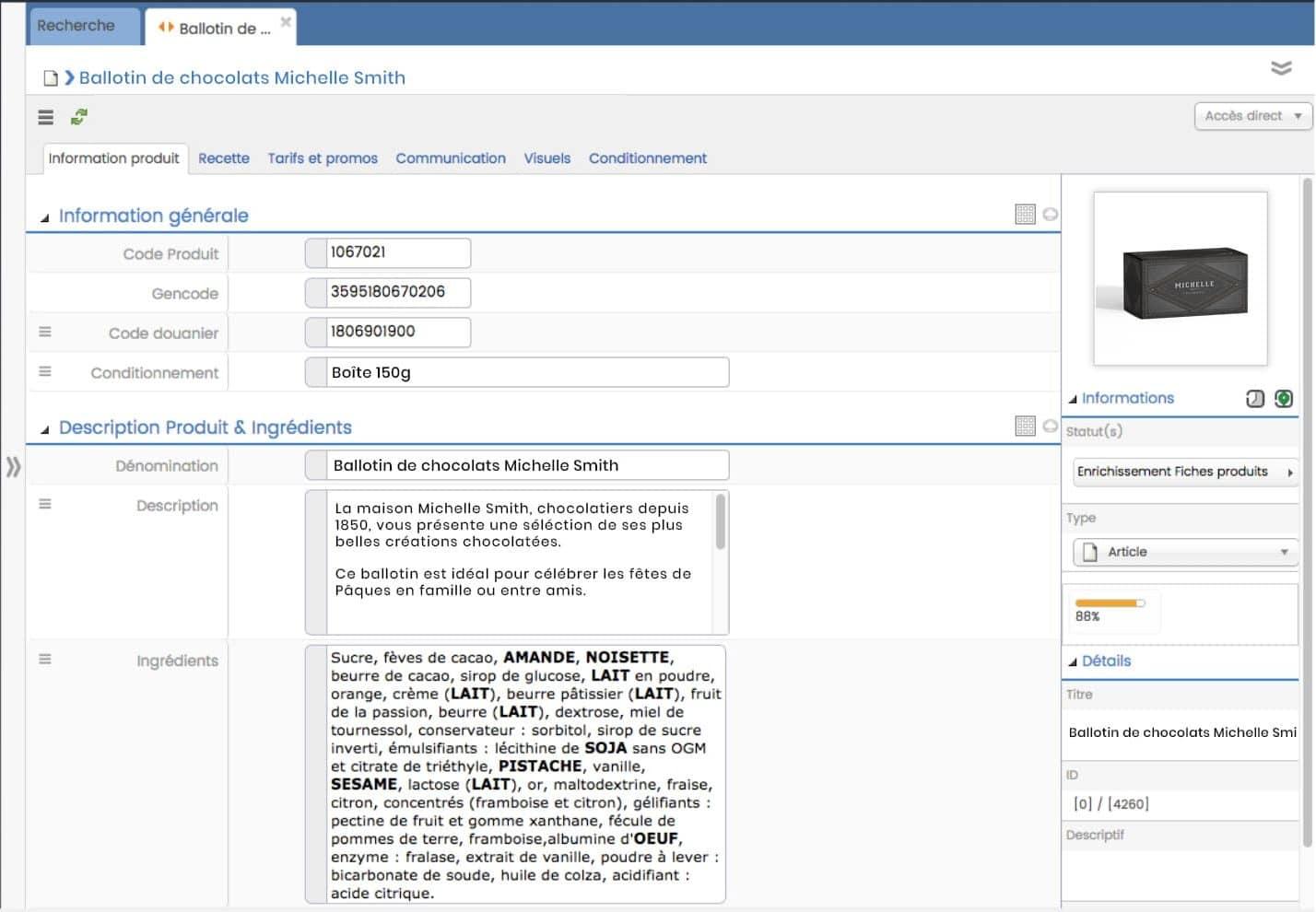 Interface PIM fiche produit descriptif