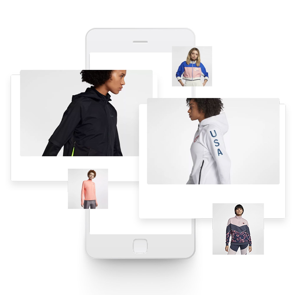 Photos de produits vêtements femme de type sportswear. DAM, gestion de médias et visuels produits