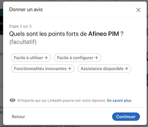 donner les points forts du logiciel PIM Afineo sur LinkedIn