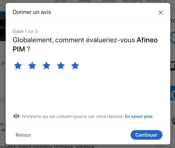 notation 5 étoiles du logiciel PIM Afineo sur LinkedIn