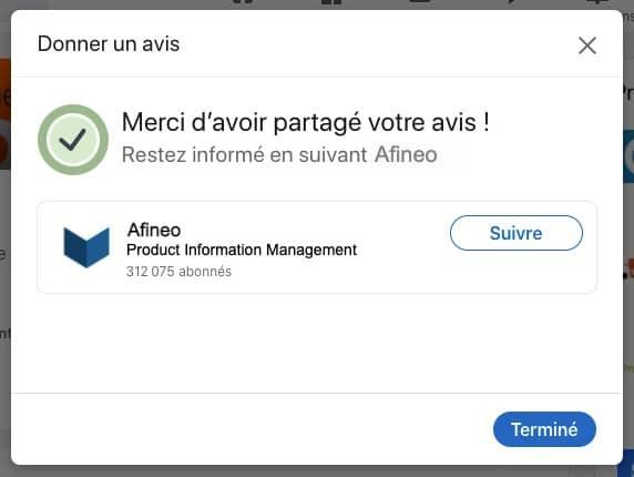 Page produit PIM Afineo sur Linkedin